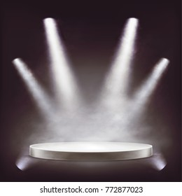 Stage, empty round podium illuminated by white beams spotlights, projectors with a smoke or fog effect, vector realistic . Transparent light effect design element for theater, studio, awards ceremony