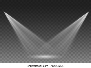 Stage glow light rays isolated on transparent background. Vector bright scene spotlight effect. Shine theater projector beams template for your creative design