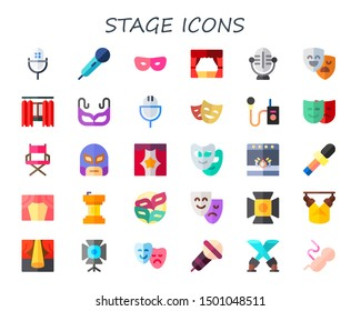 stage icon set. 30 flat stage icons.  Simple modern icons about  - microphone, mask, theater, masks, curtain, director chair, podium, spotlight, fetus