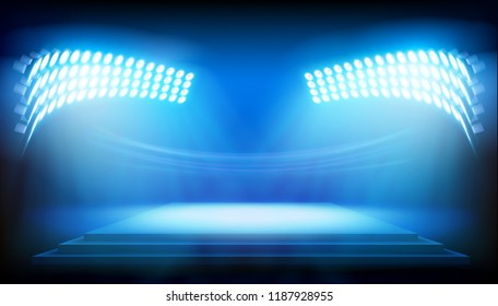 Stage illuminated by floodlights. Vector illustration.