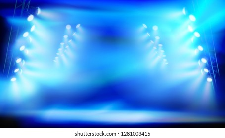 Stage illuminated by spotlights during the show on big stadium. Vector illustration.