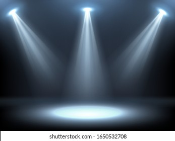 Stage illuminated by spotlights. Empty podium with spot of light. Vector realistic mockup of studio or theater interior with scene and rays of lamps. Background for concert, show, presentation of