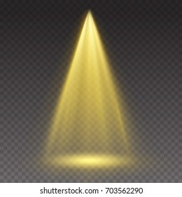 Stage light ray isolated on transparent background. Vector bright yellow glow scene spotlight effect. Shine vertical theater projector beam template for your creative design