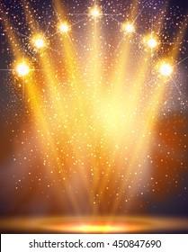 stage, light, spotlights shining in dark place art background