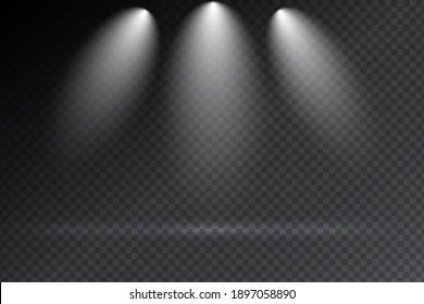 Stage lighting, on a transparent background. Bright lighting with spotlights. directional studio light. Eps10 vector illustration.
