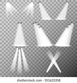 Stage lights, spot lights on transparent backgrund - vector illustration