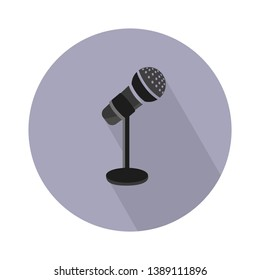 Stage microphone vector icon. filled flat sign for mobile concept and web design. Microphone with stand glyph icon. Voice symbol, logo illustration. Pixel perfect vector graphics