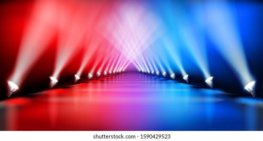 Stage platform during the show. Fashion runway. Light performance. Red carpet.  Vector illustration.