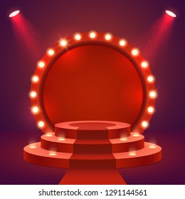 Stage podium with ceremonial red carpet and lighting. Empty Scene for award ceremony with round frame and light bulbs. Two spotlights illuminate the pedestal. Vector illustration.