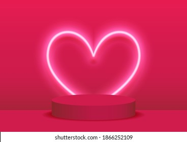 Stage podium decorated with heart shape lighting. Pedestal scene with for product, advertising, show, award ceremony, on pink background. Valentine's day background. Minimal style.Vector illustration.