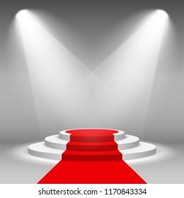 Stage podium illuminated scene spotlight party, award ceremony with red carpet. Vector Illustration
