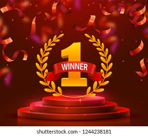 Stage podium with lighting and confetti, Stage Podium Scene with for Award Ceremony on red Background. Vector illustration