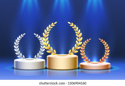 Stage podium with lighting, Stage Podium Scene with for Award Ceremony on blue Background. Vector illustration