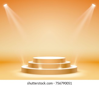 Stage podium with lighting, Stage Podium Scene with for Award Ceremony on orange Background, Vector illustration