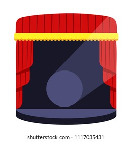 Stage podium with lighting. Stage podium scene for award,ceremony,concert, theater,party,dance,event,show.Theatrical stage.Modern flat cartoons vector illustration icons. Isolated on white.Red curtain