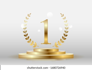 Stage podium with the number one gold on a white background. Vector.