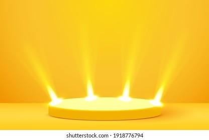 Stage Podium Scene for Award Ceremony illuminated with spotlight. Award ceremony concept. Stage backdrop. Vector illustration