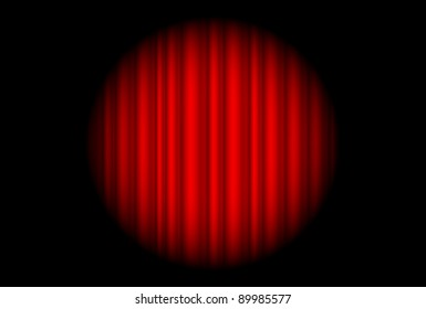 Stage with red curtain and big spot light.  Illustration of the designer