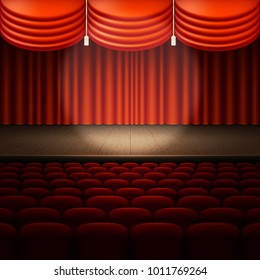 Stage with red curtain. And also includes EPS 10 vector
