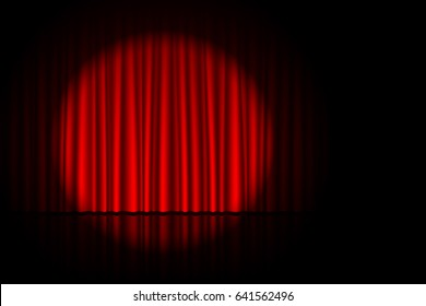Stage with red curtain and spotlight on it. Theater, circus or cinema poster background with space for text, vector illustration