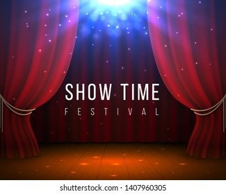 Stage with red curtains. Closed cinema and opera background with red drape and spotlight. Vector 3D elegant theater backdrop