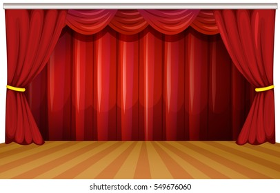 Stage with red curtains illustration
