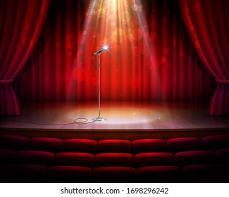 Stage with red curtains, microphone and spotlight, vector realistic background. Theater, cabaret show or opera music concert scene stage with seats, red drapery curtains and golden light from above