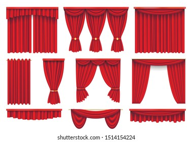 Stage red curtains realistic vector illustrations set. Theater, opera velvet open and closed classic drapes with lambrequin collection. Theatrical drapery interior decoration isolated on white