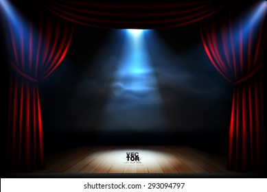 Stage with red curtains spotlights and wooden podium. High quality vector