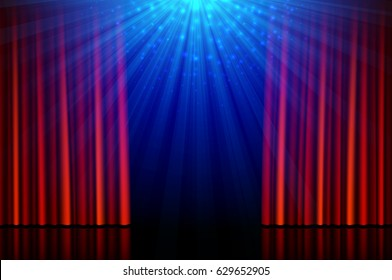 Stage with red opening curtains and spotlights, vector illustration
