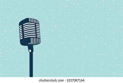stage retro microphone with bokeh light in flat icon design on blue color background