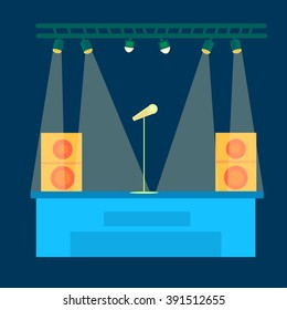 Stage, scene, singing into a microphone, stand up , performance . Vector illustration