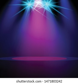 stage spot lighting blue and purple background.