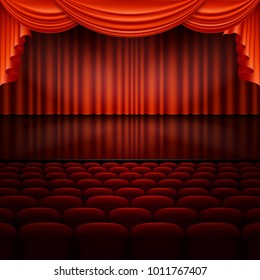 Stage with spotlight and red curtain. And also includes EPS 10 vector