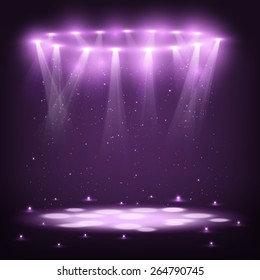 Stage with Spotlights and Spark Rain. Vector Illustration.