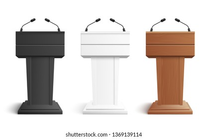 Stage stand or debate podium rostrum with microphones vector illustration isolated on white background. Business presentation or conference speech tribune 3d realistic icons.