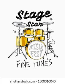 stage star slogan with drum set hand draw illustration