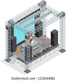 Stage for Street Performance, Concert, Entertainment and Festival Concept 3d Isometric View Architecture Construction on a White Background. Vector illustration