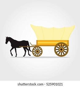 Stagecoach Carriage isolated on white background. Old transport. Vector illustration.