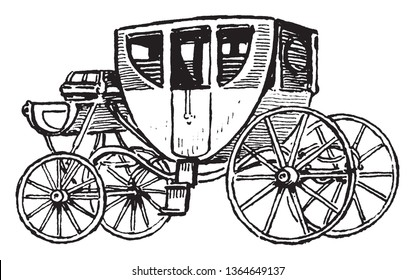 Stagecoach is a four wheeled passenger cart carried by horses, vintage line drawing or engraving illustration.