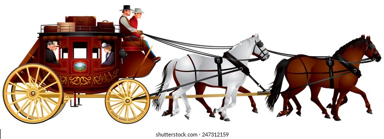 Stagecoach, Old Wild West horse-drawn Four-in-hand Post Carriage with the coach, passengers, luggage and four horses realistic vector illustration