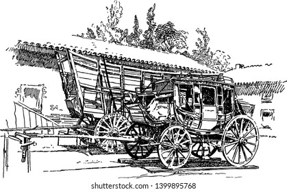 Stagecoach and Prairie Schooner which is a modes of travel in the West and an old stage coach and prairie schooner, vintage line drawing or engraving illustration.