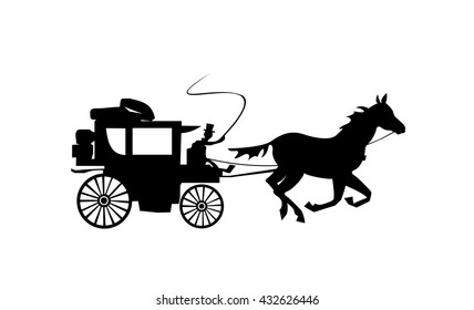 Stagecoach silhouette. Carriage isolated on white background. Old transport. Vector illustration.