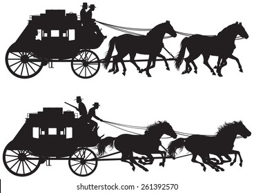 Stagecoach silhouettes, Old Wild West horse-drawn Four-in-hand Post Carriage realistic vector illustration