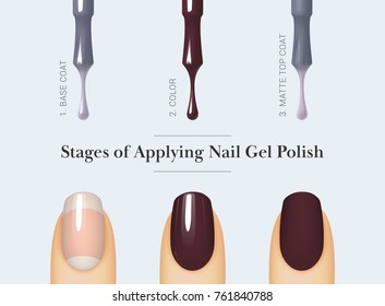 Stages of applying nail gel polish. Brush for nail polish bottle. Isolated on white background. Female finger with manicure. Vector illustration