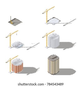 Stages of construction of a high-rise building isometric icon set vector graphic illustration design
