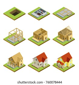 Stages of countryside house construction isometric 3D set. Land preparation, foundation, construction of walls, roof installation and landscape design. Model of rural real estate vector illustration.