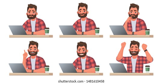 Stages of doing work on a laptop. A bearded man works at a computer. The working process. Vector illustration in cartoon style