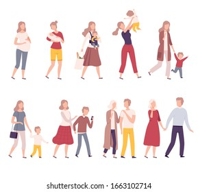 Stages of Family Development Set, Mother with Her Growing Daughter, Happy Parenthood Flat Vector Illustration