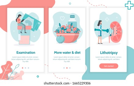 Stages of treatment of urolithiasis: diagnosis, more water and diet, splitting stones using shock wave lithotripsy.  Onboarding screens template for mobile applications and websites. Flat vector.